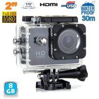 Yonis - Caméra sport étanche 30m 2'' Hd 1080p grand angle 170° noir 8 Go