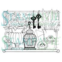 Stampavie - Pennyclr-pen45 Penny Johnson Effacer Stamp-garden Plateau 3-1-2 Po