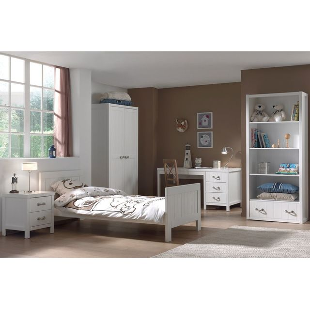 Ensemble complet 5 pièces pour chambre enfant moderne avec lit 90x200,  chevet, armoire 2 portes, bureau et bibliothèque coloris blanc