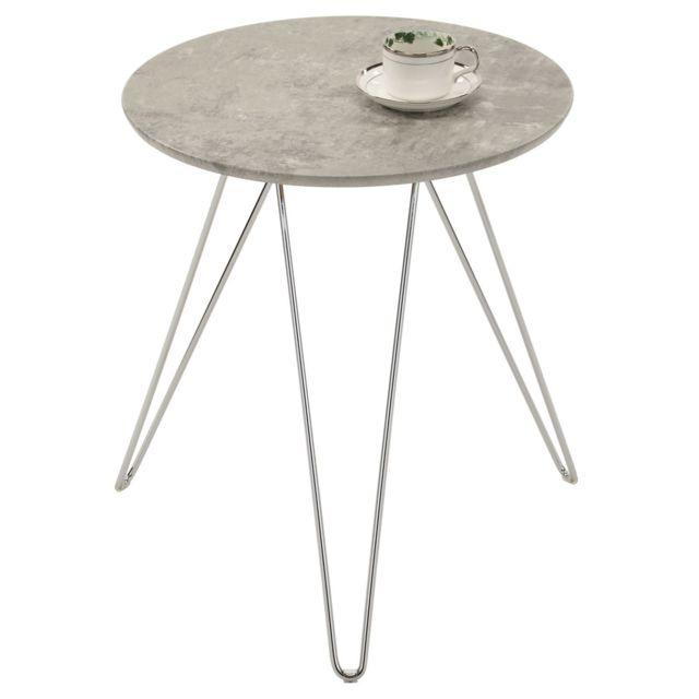 Table D Appoint Benno Table A Cafe Table Basse Ronde Bout De Canape Design Retro Vintage Pieds Epingle En Metal Chrome Decor Beton