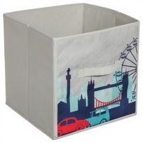 "Paris Prix - Boite Rangement ""Print London"" Gris"