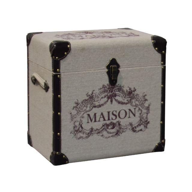 en soldes ef814 83977 Coffre Malle Boîte de Rangement Bois et Tissu 43x29x43 cm