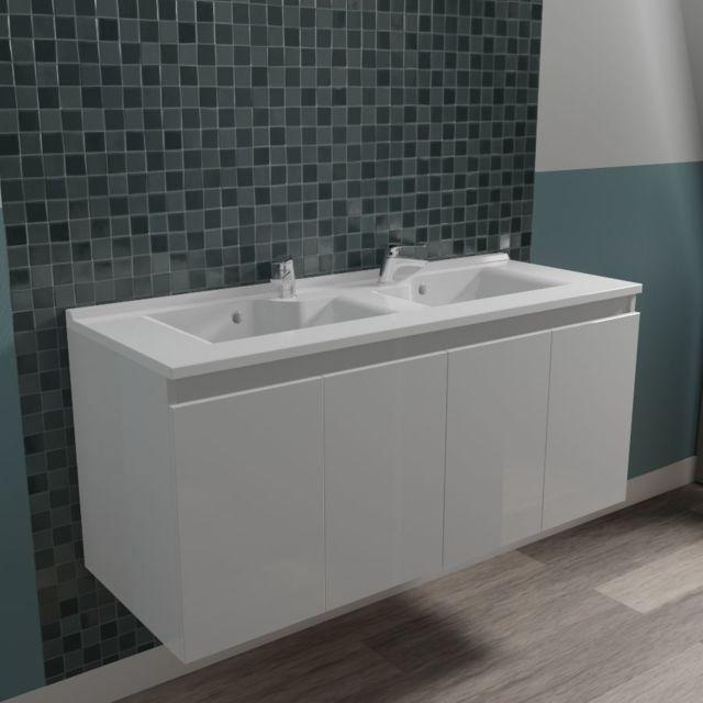 CREAZUR Caisson double vasque PROLINE 120 - Blanc brillant