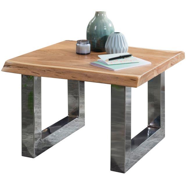 Table Avec Acier C Chromé Design En Piètement Hayakawa D'acacia Basse Plateau Bois Collection 58x60x40cm Massif lFTKc1J