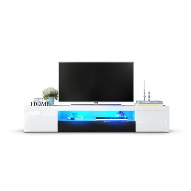 Mpc Meuble Tv Moderne Laqué Blanc Et Noir 200 Cm Avec Led Blanc