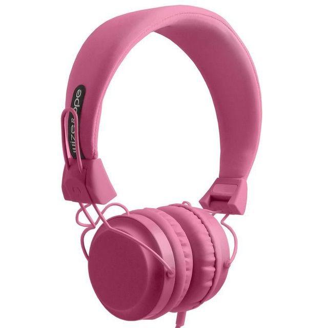 Wize & Ope Casque Audio Rose avec microphone et télécommande Casque filaire Wize & Ope Rose avec microphone et télécommande (marche/arret, suivant, précédent).Prise mini jack compatible avec un grand nombre de téléphones portables (tel que iPhone, Htc, Bl