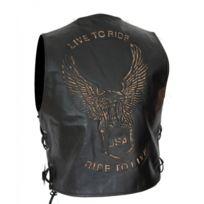 KARNO-MOTORSPORT - Kc502 GILET boléro cuir noir KARNO aigle USA eagle Style