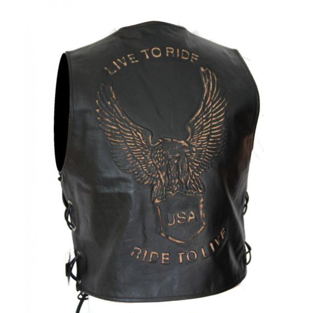 KARNO-MOTORSPORT Kc502 GILET boléro cuir noir KARNO aigle USA eagle Style