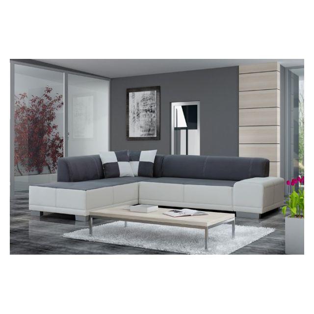 MEUBLESLINE Canapé d'angle 5 places FORTUNA gris et blanc design tendance
