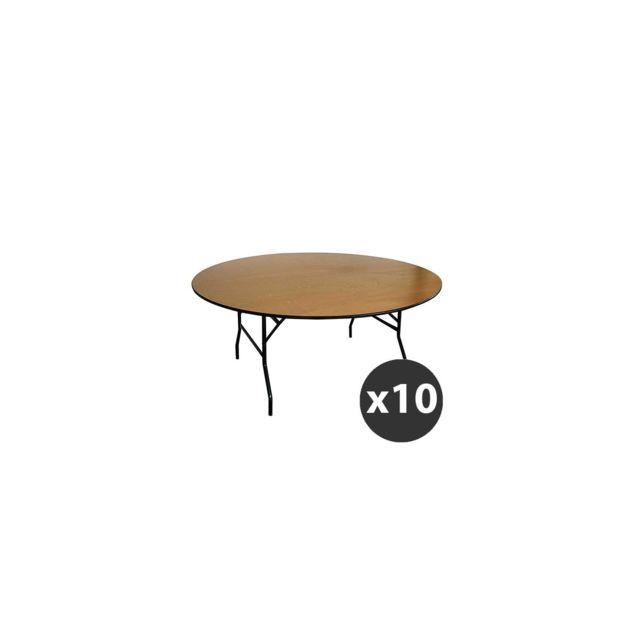 Mobeventpro - Lot de 10 Tables pliantes rondes en bois 170cm 10 ...