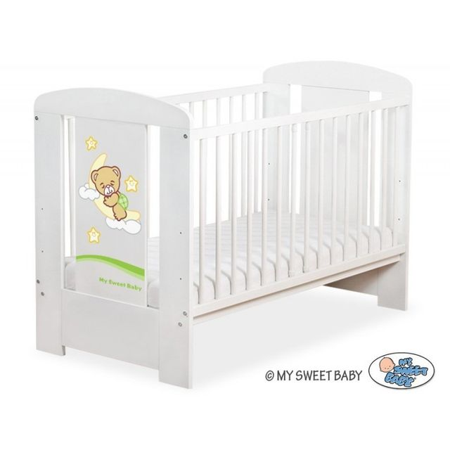 Lit bébé bonne nuit vert + matelas blanc