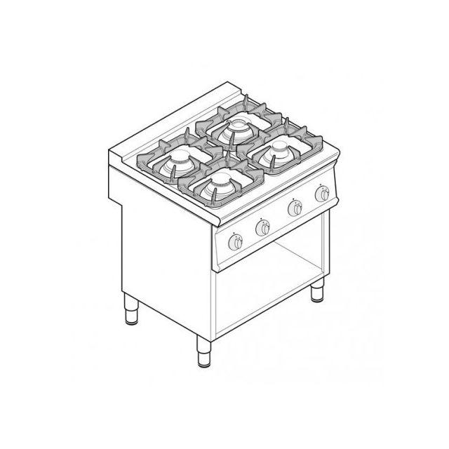 Materiel Chr Pro Fourneau sur meuble - top 4 feux vifs gaz sur placard ouvert 29 kW - gamme 900 - Tecnoinox - 900