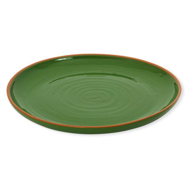 Bruno Evrard - Plat rond plat vert en terre cuite 38cm - Terre cuite - Vert