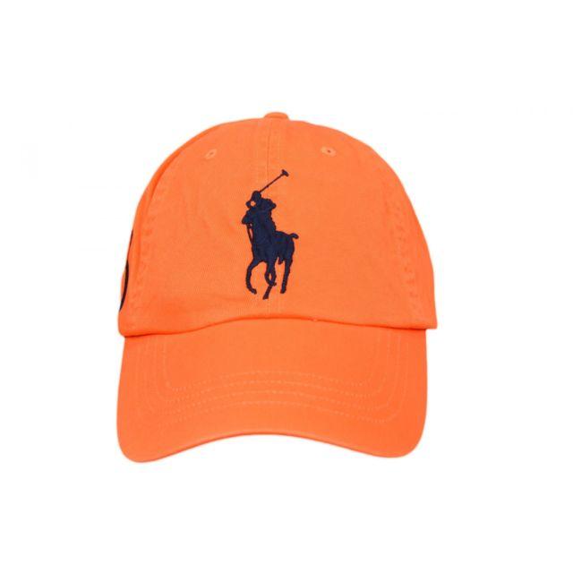 b4cfa0a214a2 Ralph Lauren - Casquette Ralph Lauren orange Big Poney bleu marine mixte