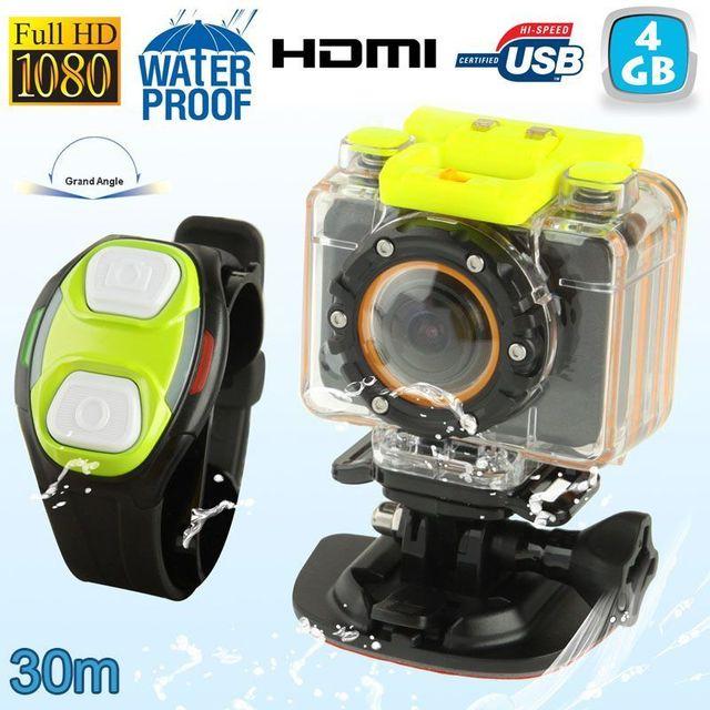 Yonis Mini caméra sport caisson bracelet télécommande waterproof 30m Hd 4 Go