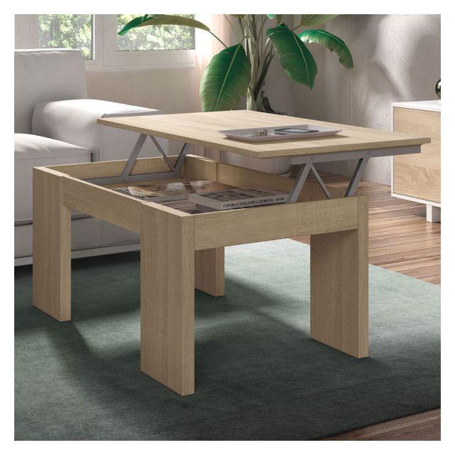 Dansmamaison Table basse relevable Chêne clair - Oxnard - L 100 x l 50 x H 43/54 cm