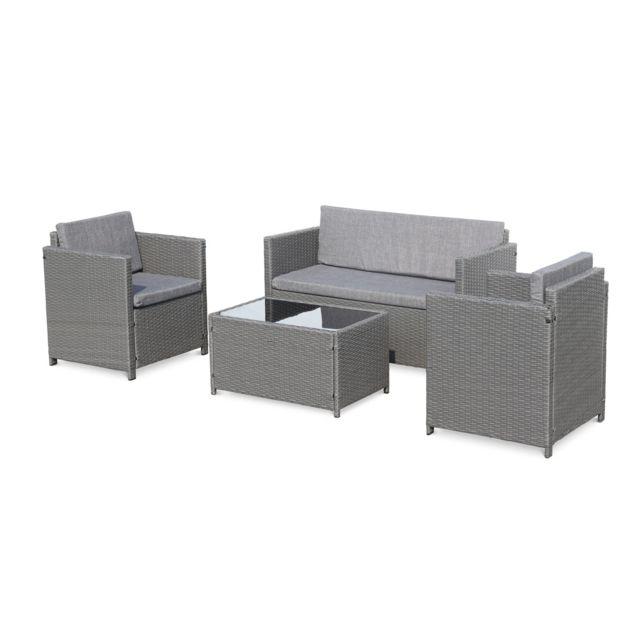 ALICE'S GARDEN Salon de jardin en résine tressée - Perugia - gris, Coussins gris - 4 places - 1 canapé, 2 fauteuils, une table basse