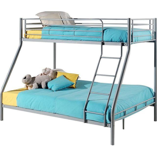 comforium lit superpos 90x200 et 140x200 en m tal coloris gris nccm x nccm pas cher achat. Black Bedroom Furniture Sets. Home Design Ideas