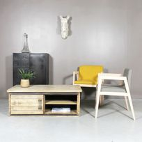 Made In Meubles - Table basse industrielle 2 portes coulissantes | If646