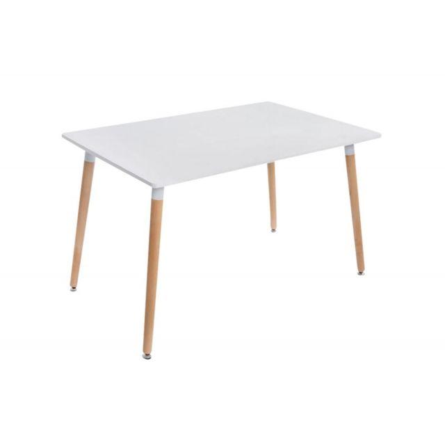 Decoshop26 Table de séjour cuisine rectangulaire 4 pieds en bois clair 120x80 cm Tab10014