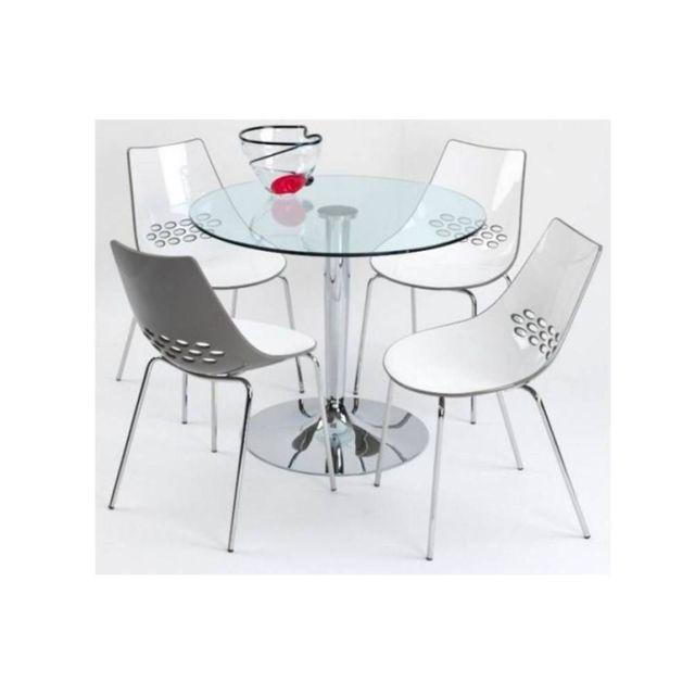 Inside 75 Table repas ronde Planet 90x90 en verre piétement acier chromé
