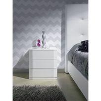 ma maison mes tendances chevet 3 tiroirs en bois laqu brillant blanc ursula l - Table De Chevet Laque Blanc Brillant