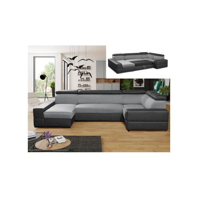 Canapé d'angle panoramique convertible VALMY en tissu et simili - Gris clair/Noir - Angle gauche