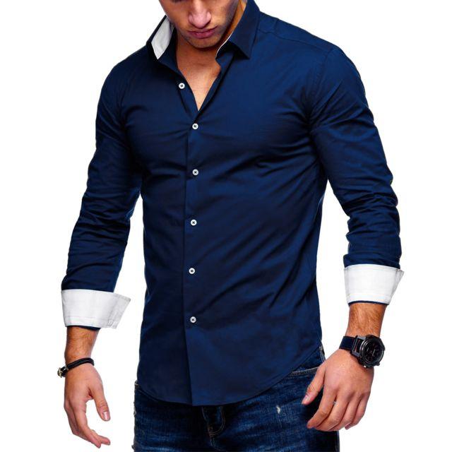 monsieurmode chemise fashion pour homme chemise 122 bleu. Black Bedroom Furniture Sets. Home Design Ideas