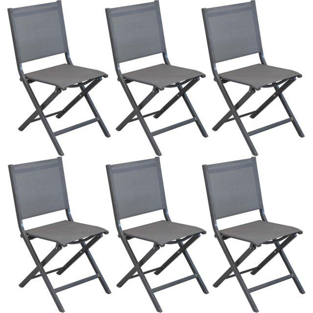 Pliantes Lot Thema Chaises De 6 Aluminium En ALc3RqS54j