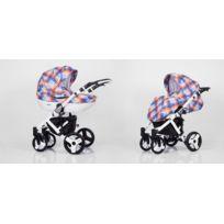 Kunert - Poussette combinée 2en1 multifonctions siège Isofix bébé enfant 0-36m avec équipement Roues en caotchouc & Cadre blanc Mila | À Carreaux