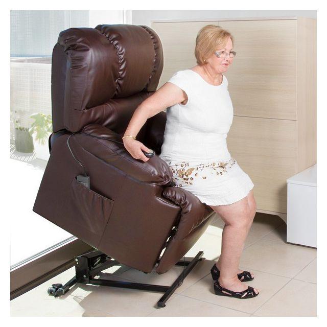 Totalcadeau Siège de massage relaxant à élévateur marron - Zen et relaxation