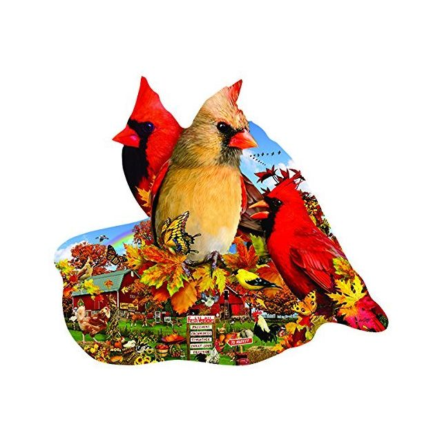 Sunsout Fall Cardinals Shaped - Bird Shaped Nature Puzzle - 800 Pc Jigsaw Puzzle by