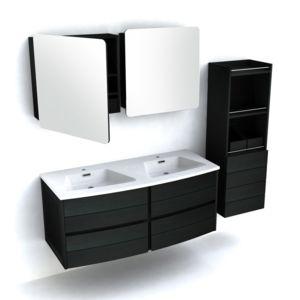 Ensemble meuble vasque bois L120cm 2 armoires de toilette