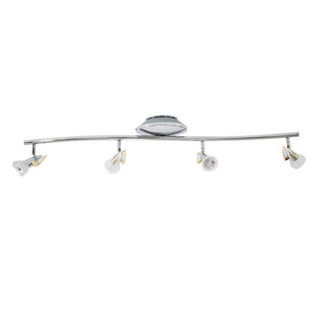 xelux luminaire plafonnier rampe de plafond chrome et dor 4 spots orientables 4 x 35 w culot. Black Bedroom Furniture Sets. Home Design Ideas