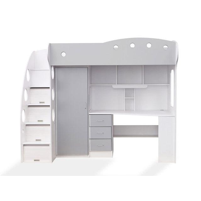 Marque Generique - Lit combiné avec bureau et rangement couchage 90X190cm Combal - Blanc/gris - Sans matelas