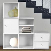 Idmarket - Meuble de rangement escalier 3 niveaux bois blanc avec porte et tiroirs