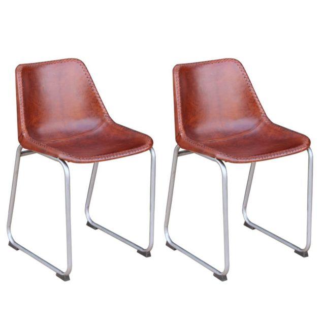 Sans Marque Chaise de salle à manger 2 pièces Cuir véritable Marron