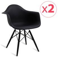 Novara Mobili - Pack 2 chaises Wood Style All Black avec accoudoir et pieds en bois de hêtre