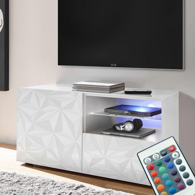 Sofamobili Meuble télé Led 120 cm blanc laqué design Antonio