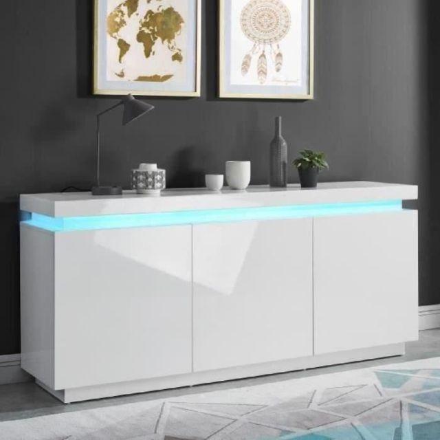 Icaverne BUFFET - BAHUT - ENFILADE ODYSSEE Buffet bas LED contemporain blanc laqué brillant - L 170 cm