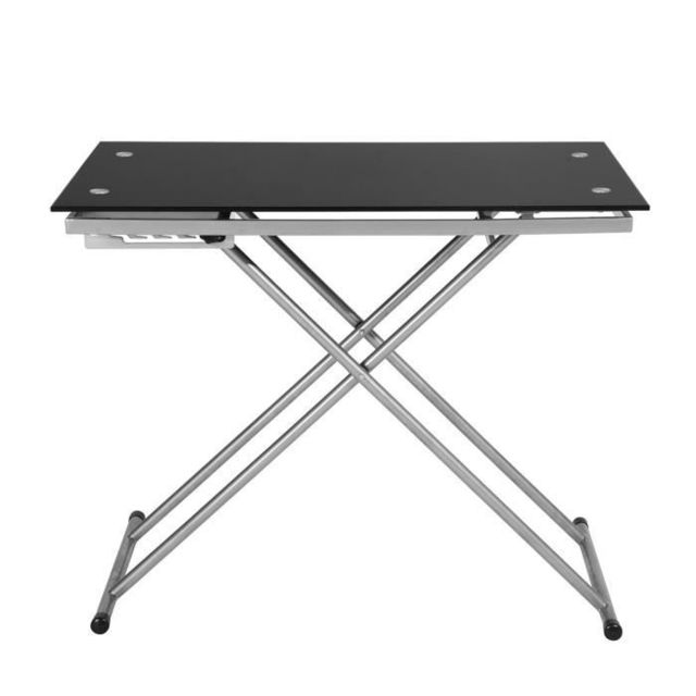 TABLE BASSE UP & DOWN Table basse relevable en verre trempé noir pied argenté - L 110 cm