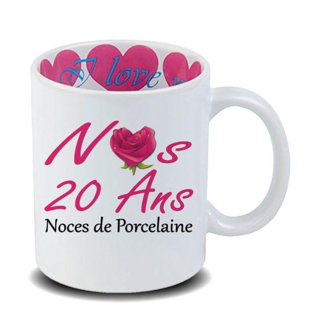 Mug Anniversaire De Mariage 20 Ans Noces De Porcelaine En Céramique Cadeau Fête Des Mères Fête Des Pères Ou Toutes Autres Occasions