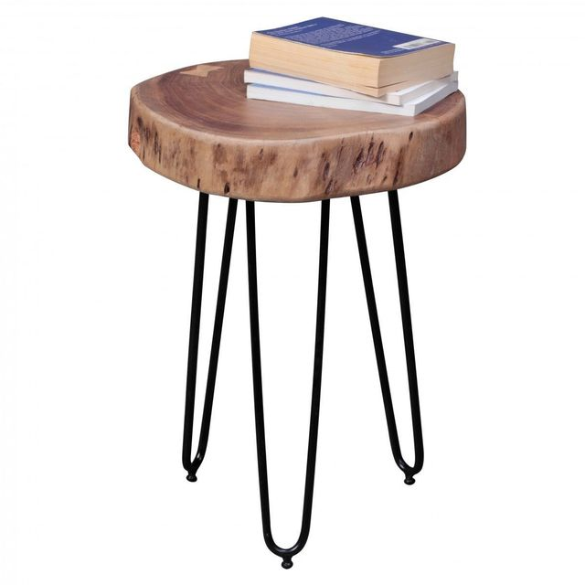 Comforium Table d'appoint ronde 35 x 35 cm avec un plateau en acacia et 3 pieds en métal