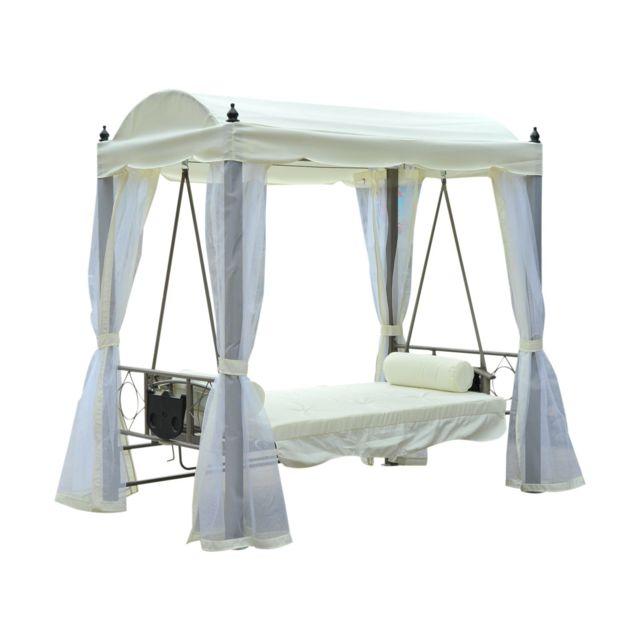 Soldes HOMCOM - Balancelle balancoire fauteuil lit de jardin ...