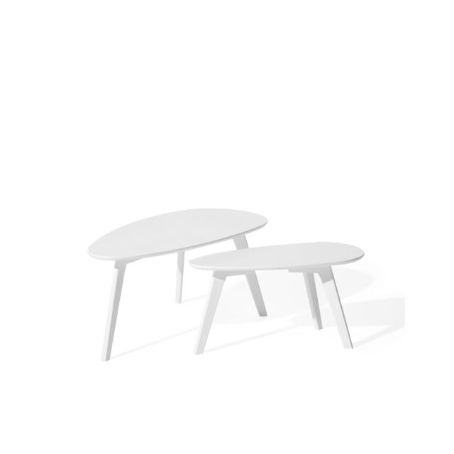 BELIANI Lot de 2 tables basses blanches FLY II - blanc