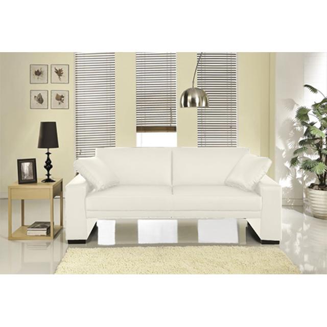 Concept Usine Vincente : Canapé 3 personnes blanc convertible lit 3 places - Simili - Canapé convertible