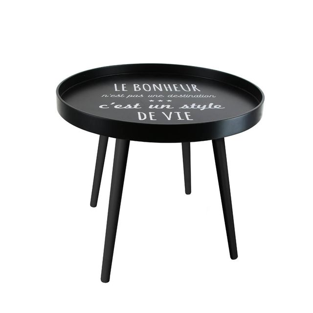 The Concept Factory Table basse citation noire avec plateau rond
