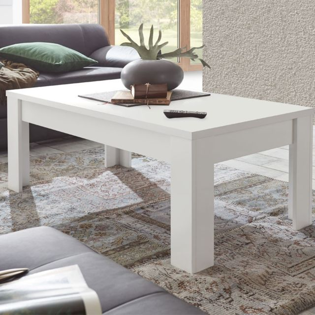 Tousmesmeubles Table basse Blanc mat - Pise