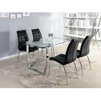 MARQUE GENERIQUE - Table à manger FRIDA - 6 couverts - Verre trempé et chrome