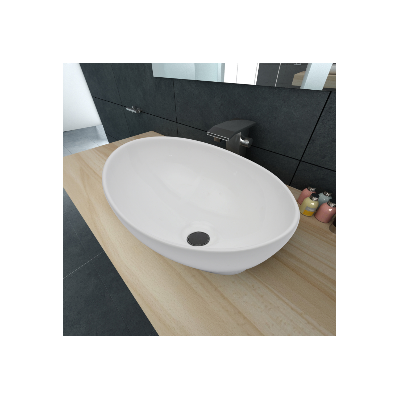 Rocambolesk - Superbe Luxueuse Vasque à poser en céramique Ovale Blanche 40 x 33 cm neuf